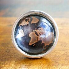 World Map Vintage Metal Drawer Door Cabinet Pull Handle Knob Glass Furniture