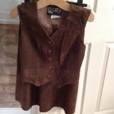VINTAGE LADIES REAL SUEDE SKIRT & WAIST COAT BY LEATHER CRAFT SIZE 12