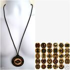 ETHNIC INSPIRED ADINKRA MENS WOMENS HANDMADE LEATHER WOOD PENDANT NECKLACE