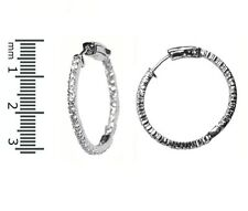 Pave Insideout Clear AAA CZ Textured Rhodium Hoop Earrings High Quality 30mm