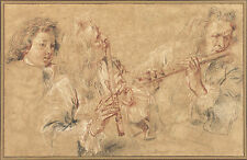 Jean-Antoine Watteau Reproduction: Two Studies of a Flutist - Fine Art Print