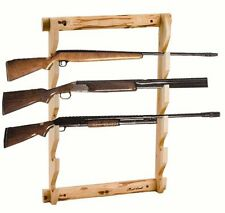 5 Rifle Shot Gun Display Solid Pine Wall Mount Rack Firearms Hold Storage Store