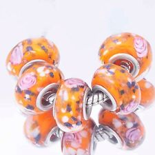 5Pcs GF Silver Orange  Crystal  MURANO GLASS charms lampwork european beads