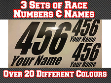 """3 Sets 8"""" Race Number Name Vinyl Stickers Decals MX Motocross Track Bike T17"""