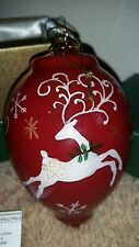"2014 Li Bien Hand Painted Glass 5"" Finial Ornament Reinder Pier 1 W/Gift Box"