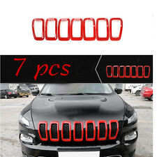 Front Grille Inserts Mesh Grill Trim Red For Jeep Cherokee 2014 2015 2016 2017