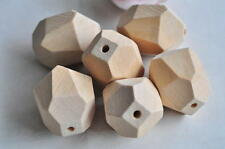 4pcs Unfinished Natural Wood Bead Hedron Geometric Figure Solid Oval Necklace