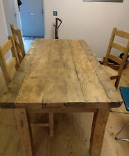 Reclaimed oak dining table and 3 chairs