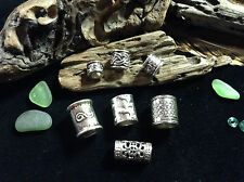 7 x Silver Beard Ring Celtic Viking Antique Mix 5-11mm Hole GoT LOTR Dread Beads