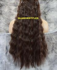 "23"" WAVY BROWN FLIP IN SECRET CLEAR WIRE HAIR PIECE EXTENSIONS NO CLIP IN/ON"