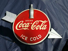 Vintage 1939 Coca Cola DRINK ICE COLD SIGN  W/ Bottle and Arrow coke