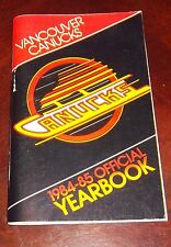 Vancouver Canucks yearbook  1984-1985  NHL Logo  cover