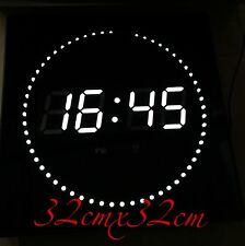 32cm LED Wall clock Datum- Temperature and Time display round Seconds display