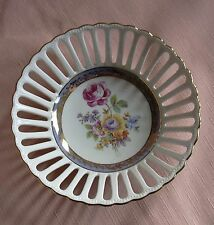 FRIEDRICH EGER & Co German Porcelain Bowl Basket Floral & Gold Bowl Crown PM