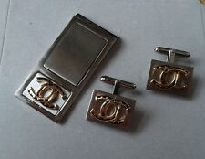 ENGRAVED / PERSONALIZED FREE Horseshoe / Luck / Coach Money Clip Cuff Link Set