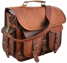"15"" distressed Leather messenger bag laptop bag computer case shoulder bag for &"