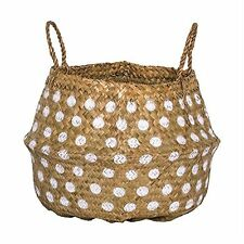 Bloomingville Seagrass Large Natural Tan with White Pocka Dot Basket & Handles