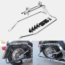 New Chrome Saddlebag Saddle bag Conversion Brackets For Harley Heritage Softail
