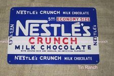 NESTLE'S CRUNCH TIN SIGN new vintage retro milk CHOCOLATE BAR 50s candy deli old