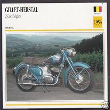 1954 Gillet-Herstal 250cc Belgica Belgium Bike Motorcycle Photo Spec Info Card