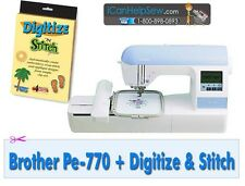 New Brother PE 770 (DZ820) Embroidery Machine USB + Digitize N Stitch Software
