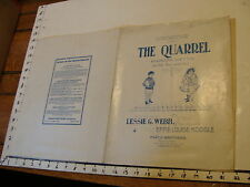 Vintage sheet music: THE QUARREL by Webb & Koogle, 1902