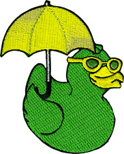 39213 Green Ducky Umbrella Sunglasses Duck Cute Embroidered Sew Iron On Patch
