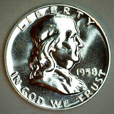 1958 Silver Franklin Silver Proof Half Dollar Coin 50c MADE IN AMERICA COIN