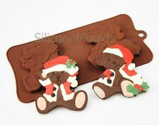 2 cell LARGE Santa Teddies Christmas Chocolate Silicone Bakeware Mould Candy Pan