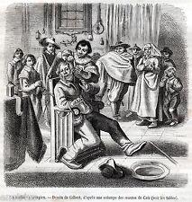 il Barbiere Chirurgo. Medicina e Chirurgia. Stampa Antica + Passepartout. 1888