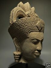 KHMER SCULPTURE SANDSTONE 'HEAD OF APSARA' FIGURE 'ANGKOR WAT' STYLE ARTIFACT
