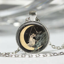 Vintage Moon Cabochon Silver plated Glass Chain 25mm Pendant Necklace#1