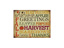 Autumn Greeting Metal Sign, Fall Holidays, Thanksgiving, Christmas, Family decor