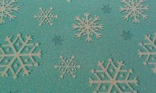 New-100% Cotton-FQ-Snow Fall Snow Flakes  Design-Turquoise/ White-22 x 18 Inches