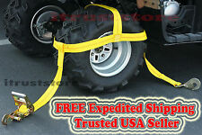 Wheel Rim Tire Bonnet Tie Down Ratchet Strap Yamaha Grizzly Polaris RZR Kawasaki