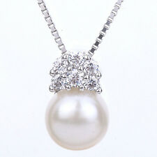 7MM FRESH WATER PEARL & FLAWLESS CREATED DIANOND 925 STERLING SILVER PENDANT