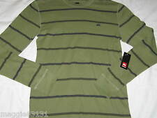 NWT Men L Large QUIKSILVER New Guys Long Sleeve Thermal Shirt Olive Green Stripe