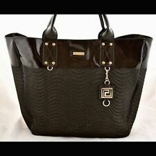 Versace Parfums Large Tote Duffle Bag Black with gold, wave pattern,keychain