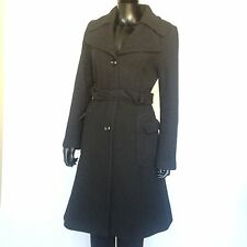 H&M Womens Black Wool Trench Coat Size 10 Medium Heavy Warm Peacoat Jacket EU 40