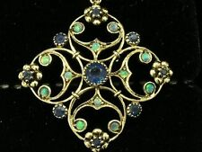 P96 Ornate Genuine 9ct Yellow Gold Natural Sapphire & Opal Pendant Vintage style