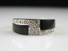 MAYORS BIRKS Inlay Black Onyx Diamond Ring 14K Yellow Gold Band Signed Size 6.5