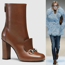 sz 37 NEW $1100 GUCCI RUNWAY Brown LEATHER HORSEBIT LILLIAN Twiggy ANKLE BOOTS