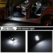 8x White Interior Map Dome Trunk License Plate LED Lights Package Kit + TOOL