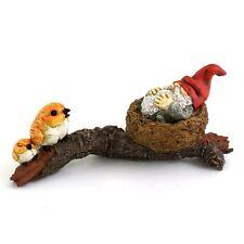 """3"""" Garden Gnome Napping in Bird Nest Fairy Garden Terrarium Miniature Decor"""