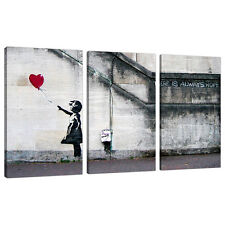 Set of 3 Large Banksy Canvas Wall Art Prints UK Red Balloon Girl 3050
