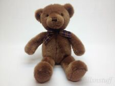 GUND VTG RARE Brown Teddy Bear with Plaid Bow Red Orange Eyes 15""