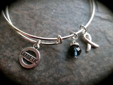 Diabetes Adjustable Wire Bangle Bracelet with Diabetic and ribbon charms
