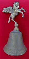 """ANTIQUE PEGASUS ~ RARE WINGED HORSE BELL ~ 6"""" BRASS WITH PATINA  ~ GREAT SOUND!"""