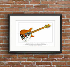 John Lennon's 58 Rickenbacker 325 natural finish Ltd Edition Fine Art Print A3
