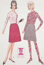 Junior Size 13 Mod Skirt Blouse & Stocking Pattern 1964 Exceptional Unusual NEAT